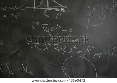 Blackboard with Physics (Theoretical Quantum Mechanics) Equations