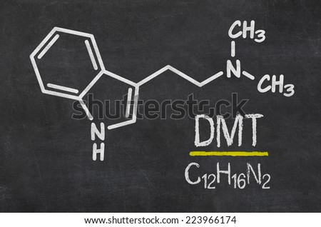 Blackboard with the chemical formula of DMT