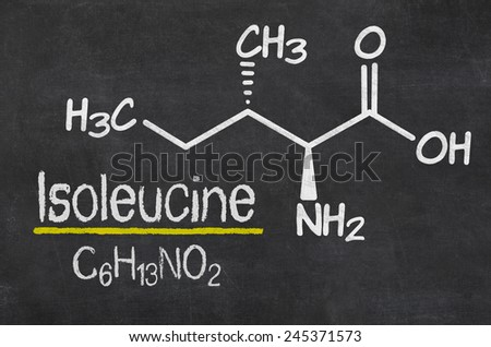 Blackboard with the chemical formula of Isoleucine