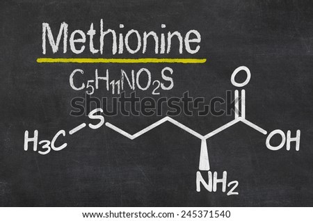 Blackboard with the chemical formula of Methionine - stock photo