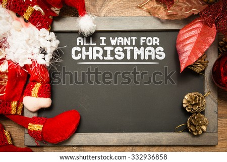 Blackboard with the text: All I Want For Christmas in a conceptual image - stock photo