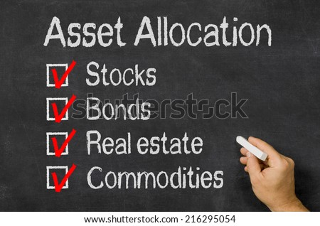 Blackboard with the text Asset Allocation - stock photo