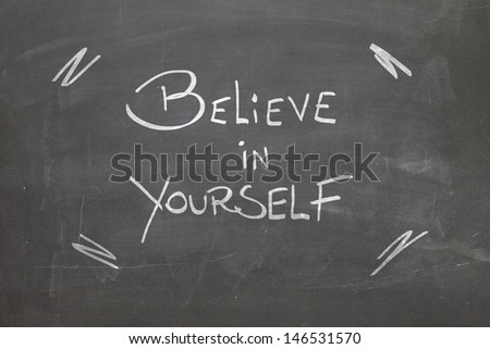 Blackboard with the text - Believe in Yourself