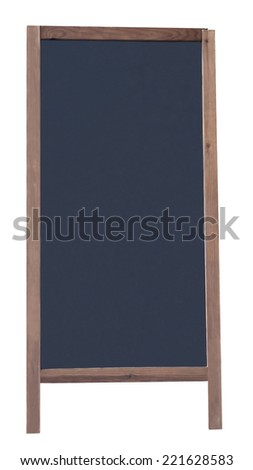 Blackboard with wood frame on legs, isolated on white. Ad space, copy space background.