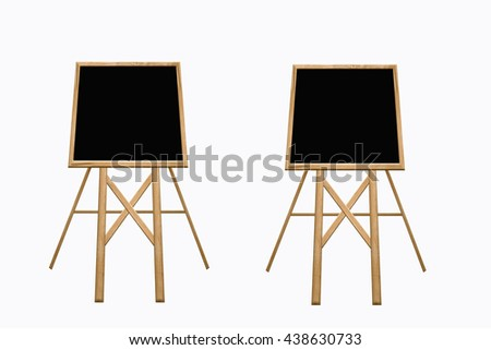 blackboard with wood on white background