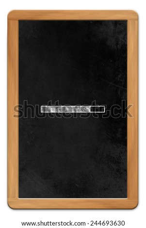 Blackboard with wooden frame and chalk drawn tablet computer loading symbol, isolated on white background