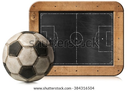 Blackboard with wooden frame, football field and an old soccer ball. Isolated on white background - stock photo
