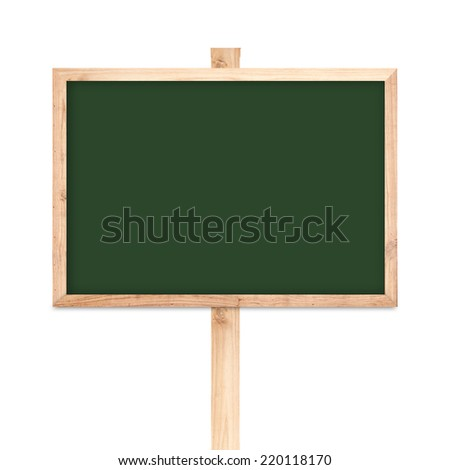 Blackboard wood label isolated on white background - stock photo