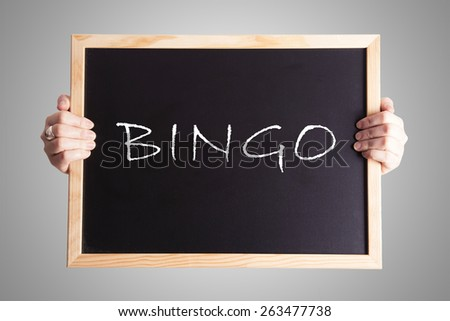 blackboard write BINGO - stock photo