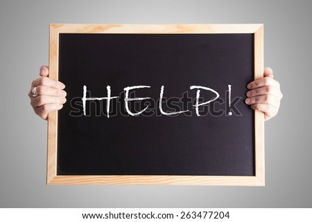 blackboard write HELP! - stock photo
