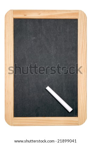 Blackboard writing tablet and white chalk, includes a clipping path