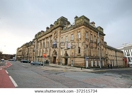 BLACKBURN, UK - FEBRUARY 3 2016: Magistrate's Court. Blackburn is a large town in Lancashire, England which lies to the north of the West Pennine Moors on the southern edge of the Ribble Valley, - stock photo
