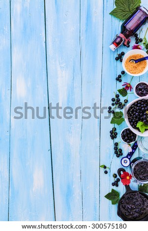 Blackcurrant - fresh blackcurrant fruit and a variety of sweet dishes, border - stock photo