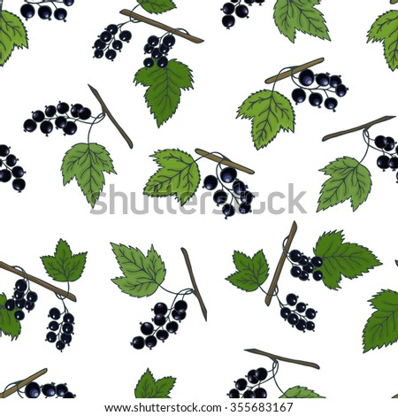 Blackcurrant seamless pattern. A healthy diet is a flat style of illustration. Isolated green food, can be used in the restaurant's menu, cooking the books, organic farming labels, packaging