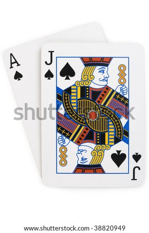 Blackjack aka twenty-one.  ace of spades over a jack of spades. Isolated and file includes an excellent clipping path so all the tedious work has been done. Enjoy! - stock photo