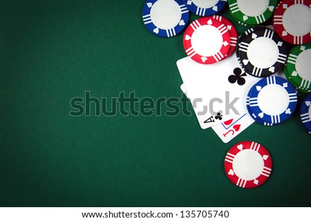 Blackjack playing cards and casino poker chips - stock photo