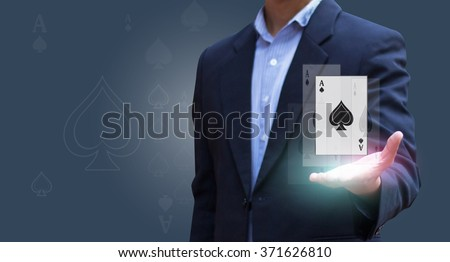 Blackjack poker cards on businessman hand. tool on hand. option. - stock photo