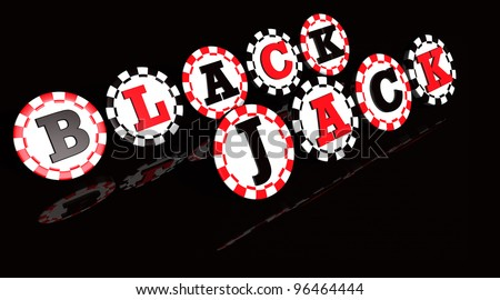 Blackjack sign on black and red colored chips. - stock photo
