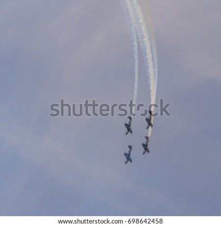 Blackpool, Lancashire. August 13th 2017. The Blades display team at the Blackpool airshow, Blackpool, Lancashire, UK