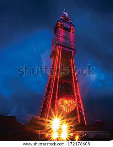 Blackpool tower  in lights - stock photo