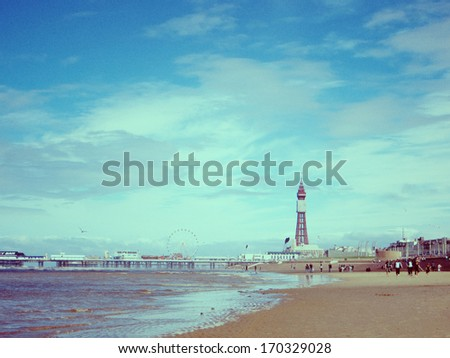 Blackpool Tower, with North Pier - stock photo