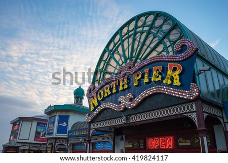 BLACKPOOL, UK - NOVEMBER 4, 2015: Entrance to North Pier, Blackpool.