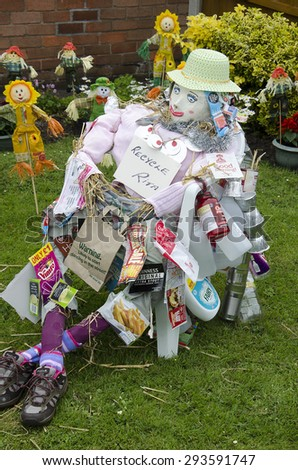 Blackrod,Uk - 2nd July - Enteries from the annual scarecrow festival, representing all from stage and screen, to local and cartoon heros. Taken 2nd July 2015