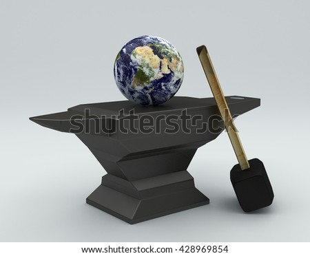 blacksmith anvil with a hammer and the planet Earth on a white background, 3d render