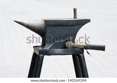 Blacksmith's anvil on the local background close-up - stock photo