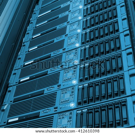 blade array of mainframe processing  computing and storage - stock photo