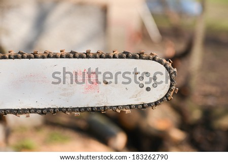 Blade of a chainsaw in the garden, copy space - stock photo