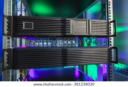 Blade server close-up, supercomputer, mainframe hosting computer.  - stock photo