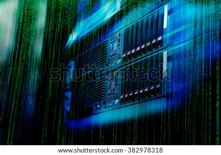 Blade server is a close-up in a series of supercomputers - stock photo