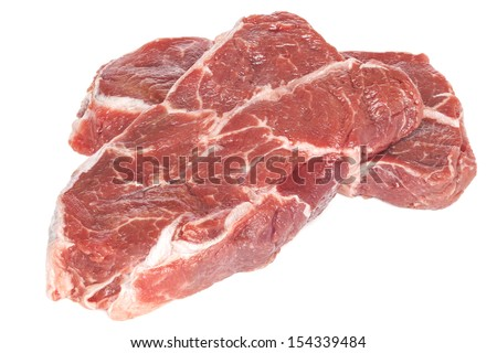 Blade Steal Raw - two pieces of beef top blade steak, suitable for making stew, isolated on white, front to back focus.