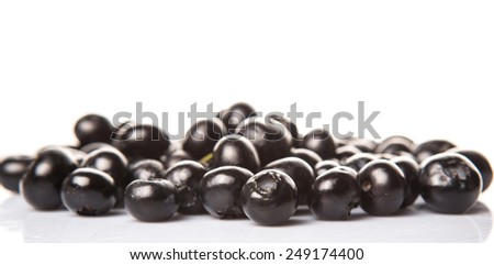 Blaeberry also known as bilberry over white background
