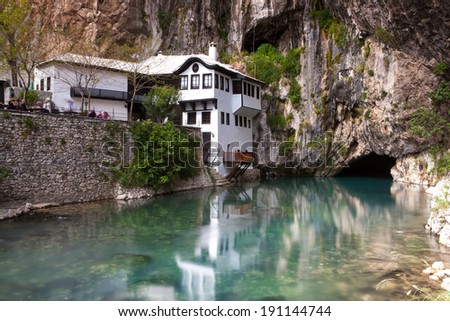 BLAGAJ, BOSNIA AND HERZEGOVINA April 19, 2014 - Dervish house in Blagaj, near the Mostar, Bosnia and Herzegovina.