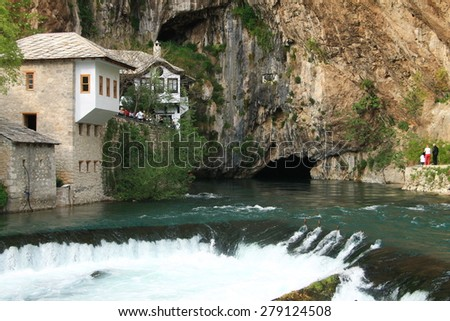 BLAGAJ - BOSNIA AND HERZEGOVINA - MAY 01 , 2015 : Dervish house in old town Blagaj near the Mostar , Bosnia and Herzegovina