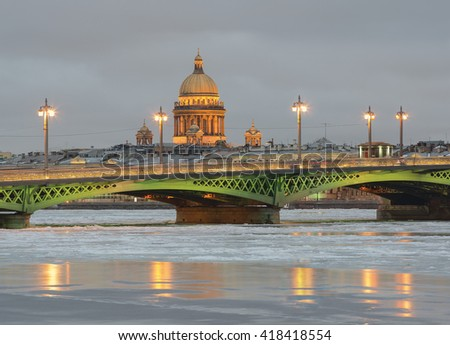 Blagoveshchensky Bridge and St.-Isaac's Cathedral.  Saint Petersburg, Russia - stock photo