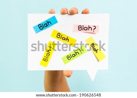 Blah Blah Blah message on blue background - stock photo