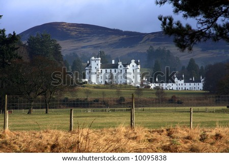 Blair Castle home of the Atholls in the Grampian foothills Scotland - stock photo