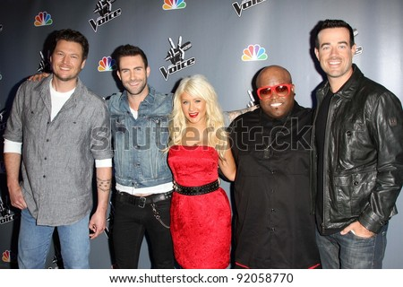 "Blake Shelton, Adam Levine, Christina Aguilera, Cee Lo Green, Carson Daly at NBC's ""The Voice"" Press Conference, LA Center Studios, Los Angeles, CA. 03-15-11 - stock photo"