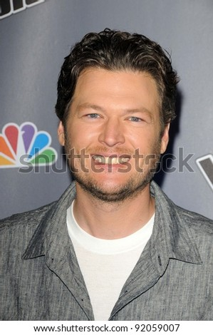 "Blake Shelton at NBC's ""The Voice"" Press Conference, LA Center Studios, Los Angeles, CA. 03-15-11 - stock photo"