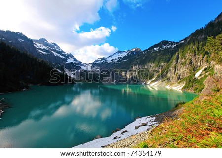 Blanca Lake, Washington State. Located in the Henry M. Jackson Wilderness Area, Beautiful turquoise green lake. Only accessible by foot.  Elevation Gain: 2700 ft in. Time: 5 hours Distance: 8 ml