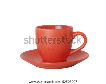 Blanching with drawing cup for coffee and saucer on white background