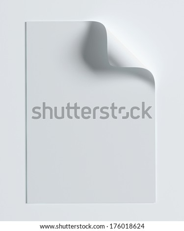 Blank A4 paper page with curl isolated on white with soft shadows.