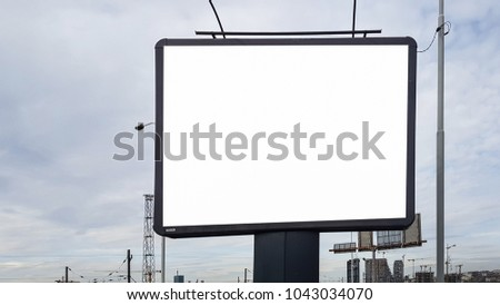 Blank Advertisement Sign City Urban Public White Isolated Clipping Path Template Ad