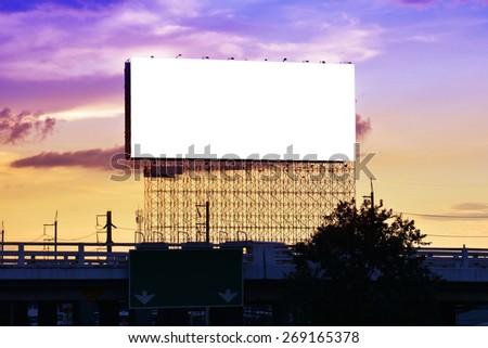 blank advertising billboard at bridge road  - stock photo