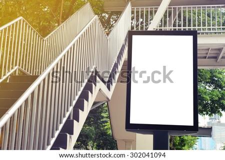 blank advertising billboard at flyover - stock photo