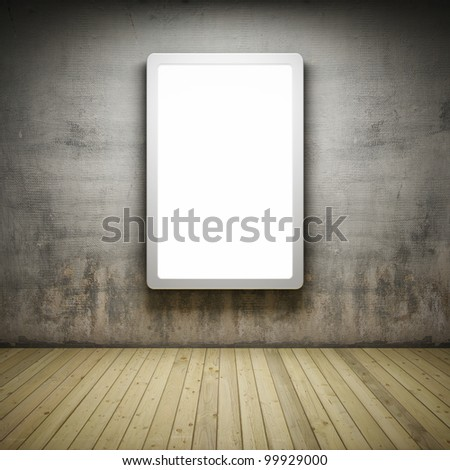 Blank advertising billboard in Interior room with grunge wall and wooden floor