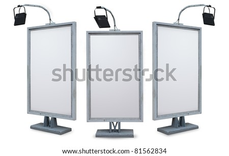 Blank advertising billboard isolated on white background. with clipping path for design work - stock photo